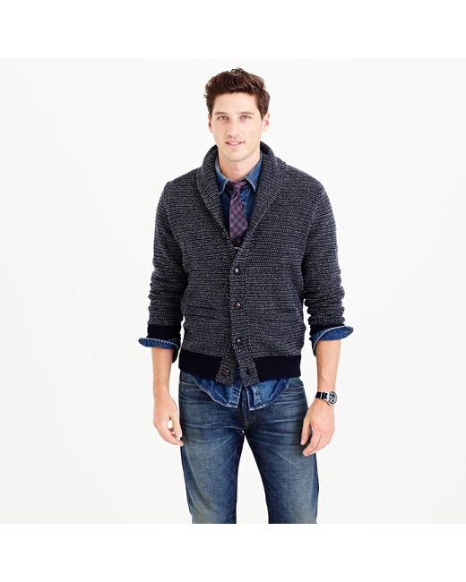 J.Crew | Blue Textured Lambswool Shawl-collar Cardigan Sweater for Men | Lyst