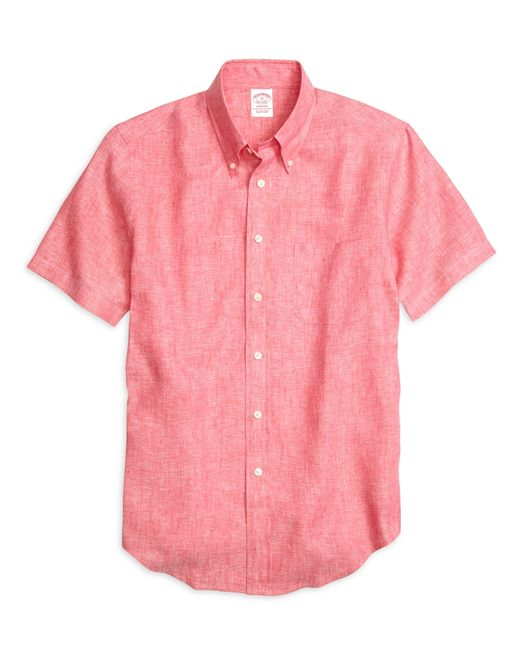 Brooks Brothers | Pink Regent Fit Linen Short-sleeve Sport Shirt for Men | Lyst