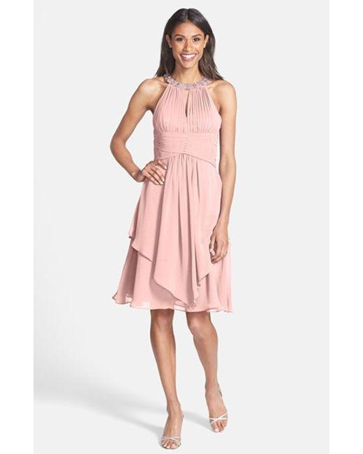 Eliza J | Pink Embellished Neck Layered Chiffon Fit & Flare Dress | Lyst