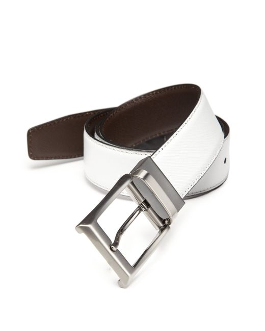 Saks Fifth Avenue | Brown Two-toned Reversible Saffiano Leather Belt for Men | Lyst