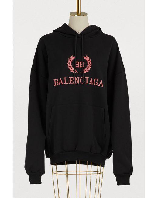 Balenciaga - Black Bb Oversized Hoodie - Lyst