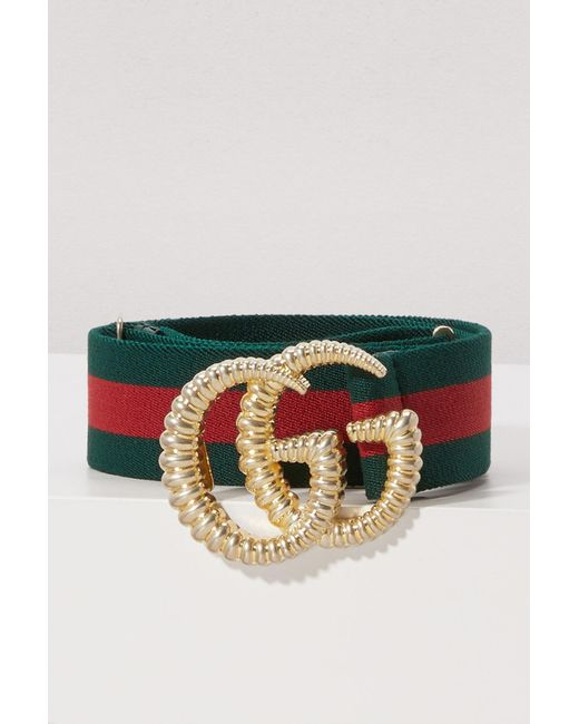 4569d9054d01 Gucci Web Elastic Belt With Torchon Double G Buckle in Green - Save ...