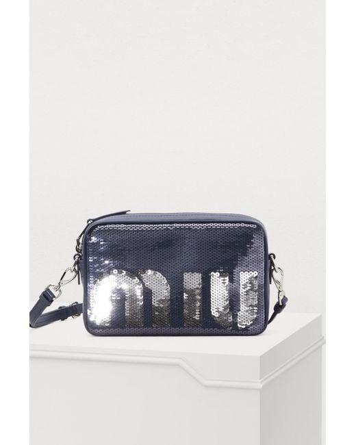 0261b4f973 Miu Miu - Blue Sequins Camera Bag - Lyst ...