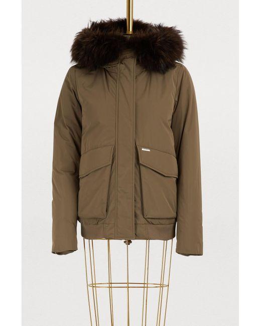 Woolrich - Multicolor Short Fur-lined Bomber Jacket - Lyst