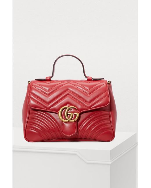 12cc57e72 Gucci GG Marmont Matelassé Top Handle Bag in Red - Save 19% - Lyst