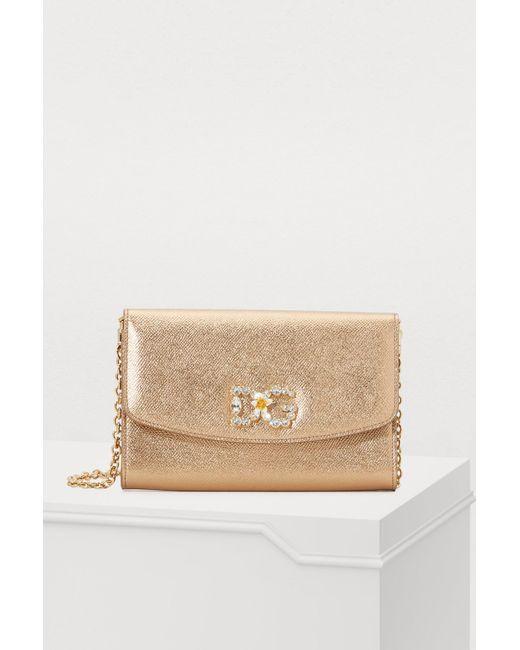 Lyst - Dolce   Gabbana Embellished Logo Crossbody Bag in Metallic ... 05decc00d159d