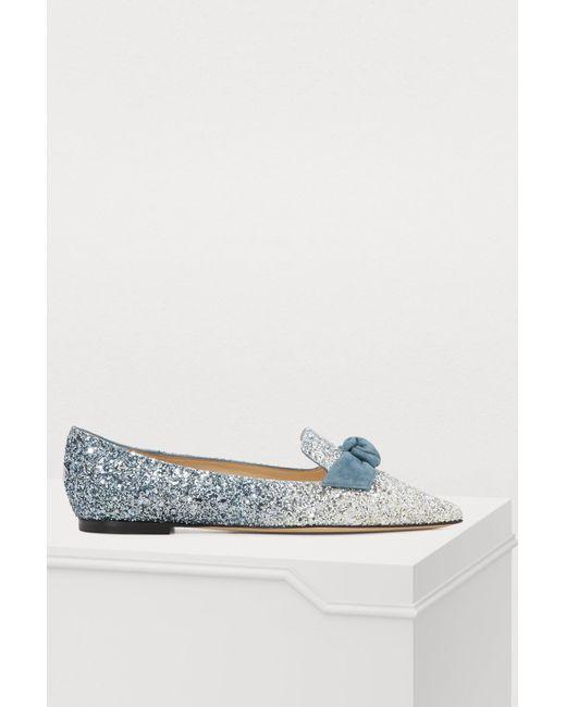 317ea2979a9 Jimmy Choo - Blue Gabie Ballet Pumps - Lyst ...