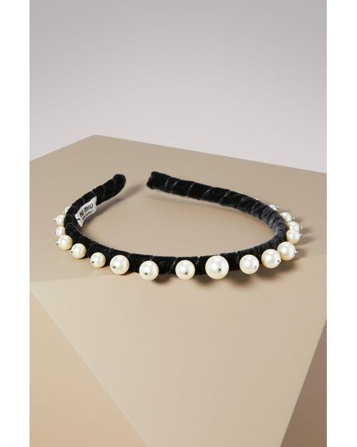 Miu Miu | Black Pearl Embellished Headband | Lyst