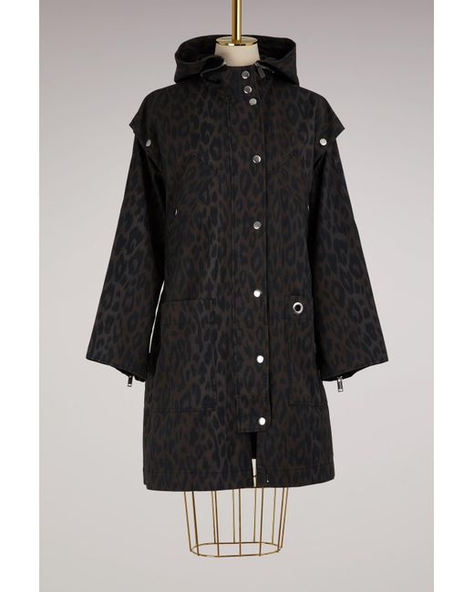 Proenza Schouler | Black Leopard Printed Coat With Removable Sleeves | Lyst