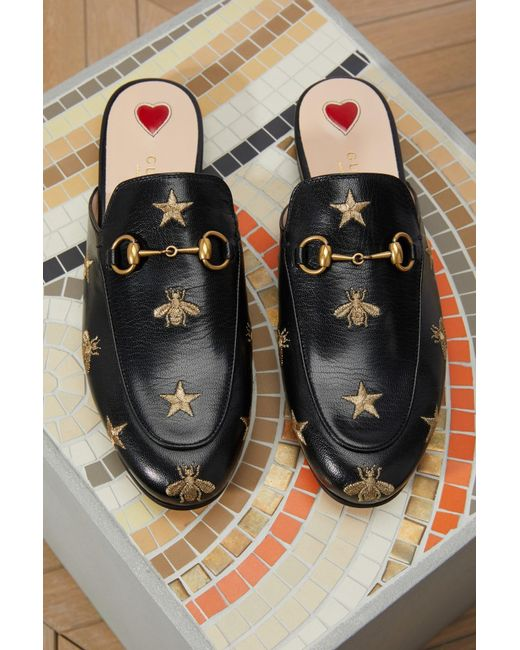 d98074ccd5d ... Gucci - Black Princetown Bee Mules - Lyst ...