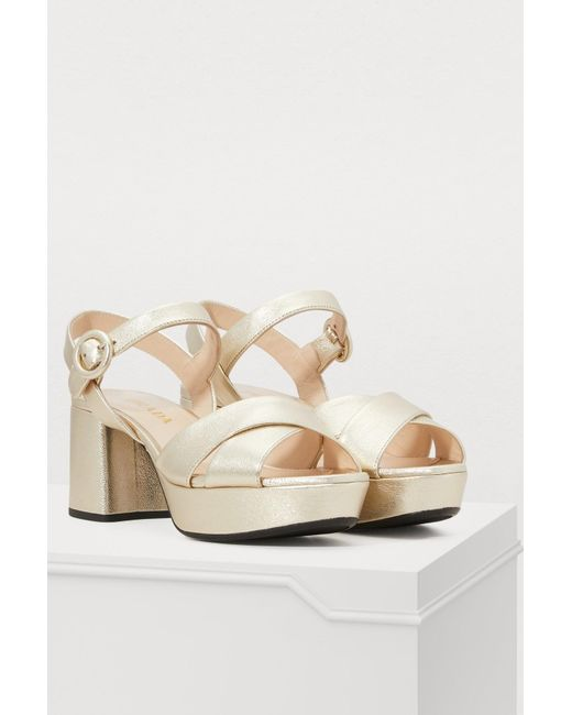 2fa97185001a ... Prada - Multicolor Pearly Laminated Leather Sandals - Lyst ...