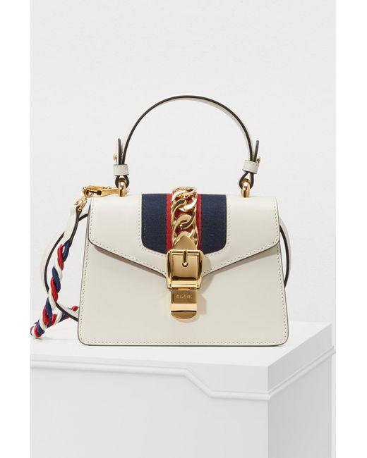 1faaea77c6484a Gucci - White Sylvie Leather Mini Bag - Lyst ...