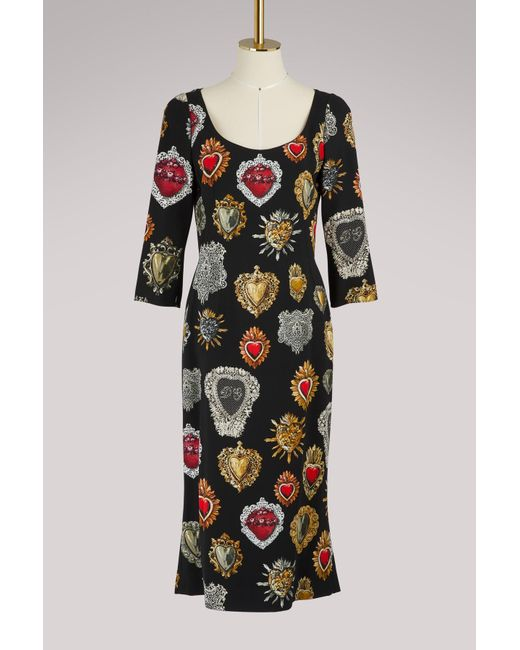Dolce & Gabbana - Black Hearts Print Midi Dress - Lyst