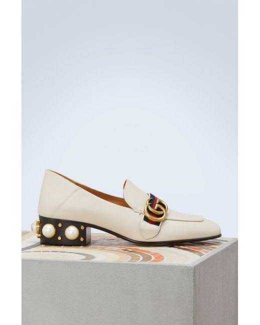 45a3e40e13d Gucci - White Leather Mid-heel Loafer - Lyst ...