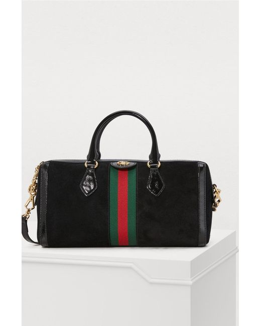 Gucci - Black Ophidia Boston Suede Bag - Lyst