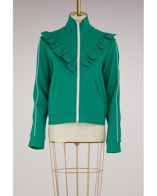 RED Valentino - Green Ruffle Sweater Jacket - Lyst