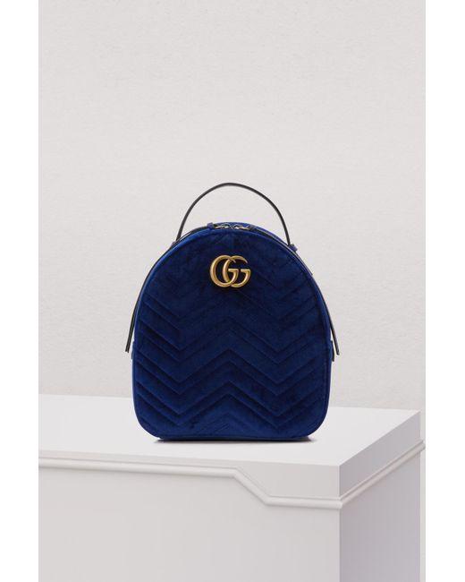 7b36dbcbaa99 Gucci - Blue GG Marmont Velvet Backpack Cobalt - Lyst ...