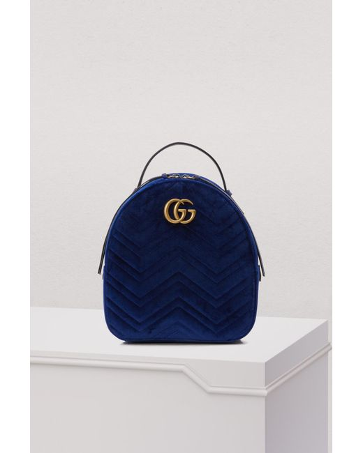 0d599349a829 Gucci - Blue GG Marmont Velvet Backpack - Lyst ...