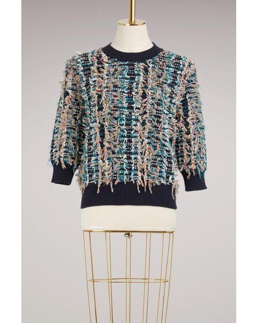 Chloé   Multicolor Frayed Cotton Jumper   Lyst