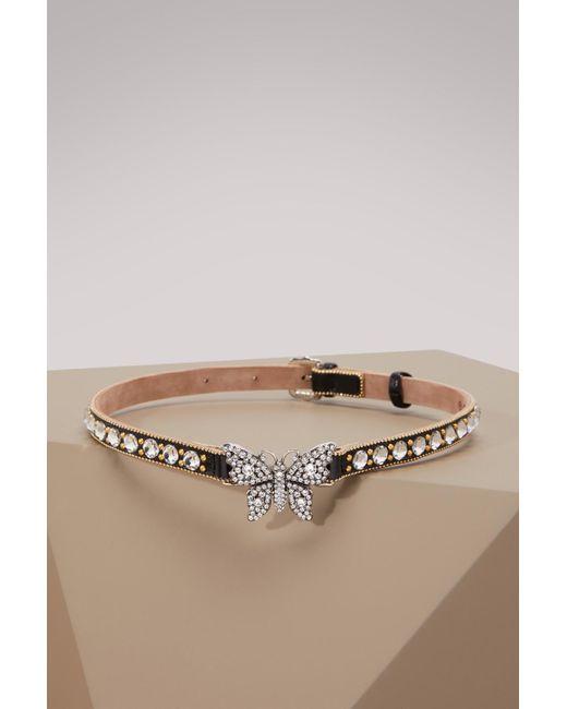 Gucci - Metallic Crystal Studded Butterfly Choker - Lyst