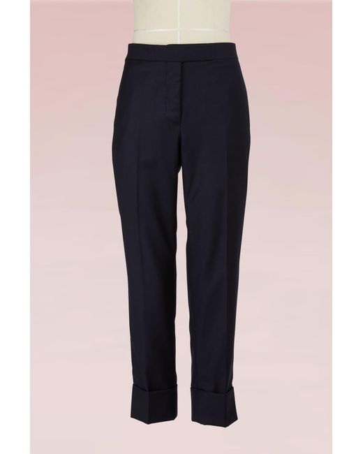 Thom Browne - Blue Wool Cropped Trousers - Lyst