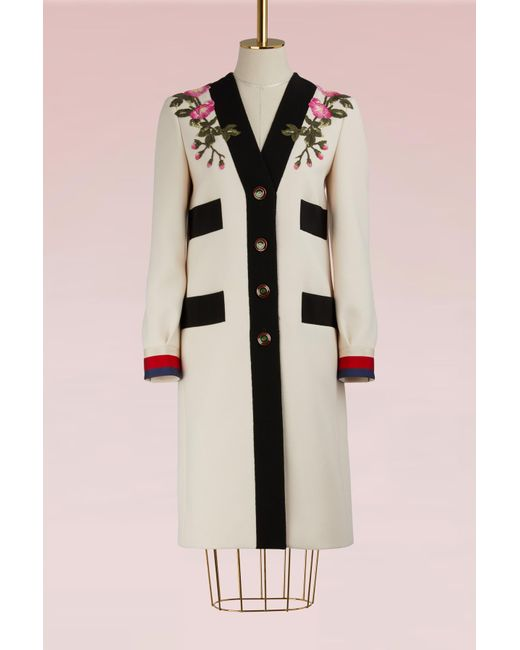 Gucci | Pink Embroidered Wool Coat | Lyst
