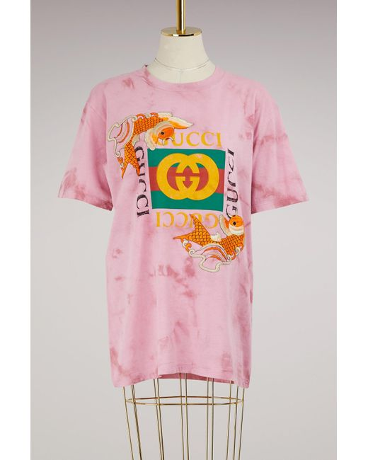 Gucci   Pink Fish Embroidered Cotton T-shirt   Lyst