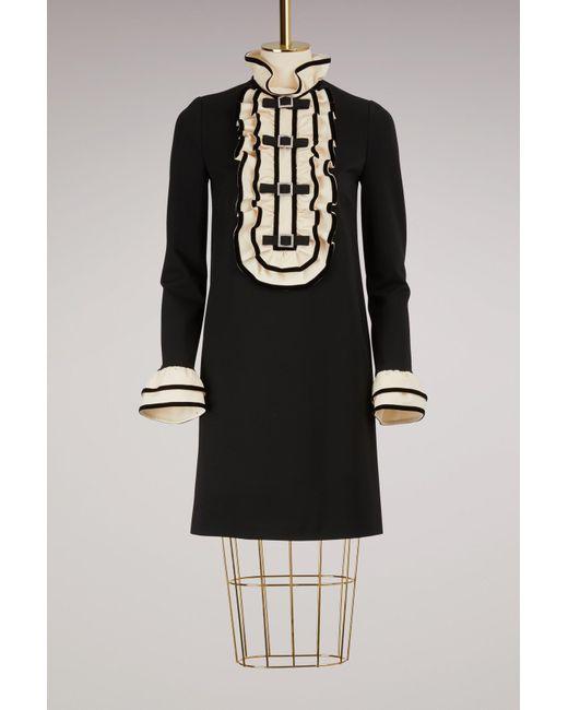 Gucci   Black Viscose Jersey Dress With Ruffles   Lyst