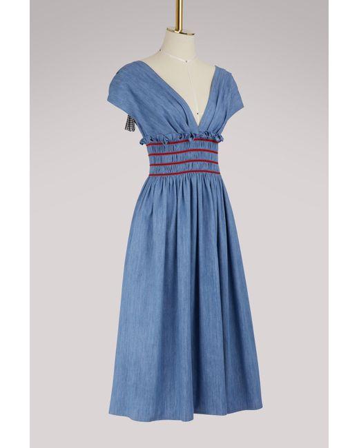 61e7530c59ce ... Miu Miu - Blue Embroidered Denim Dress - Lyst ...