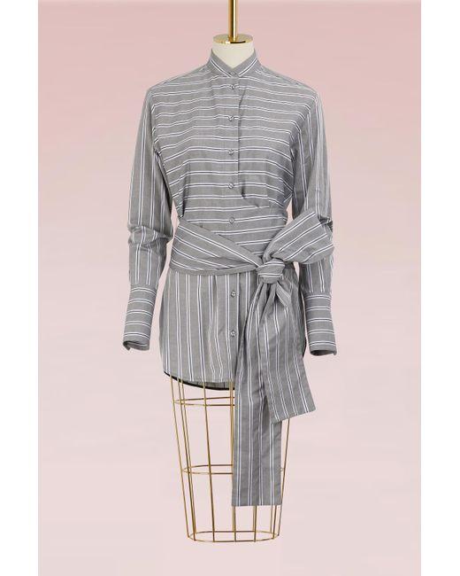 Victoria, Victoria Beckham - Gray Tie Shirt - Lyst