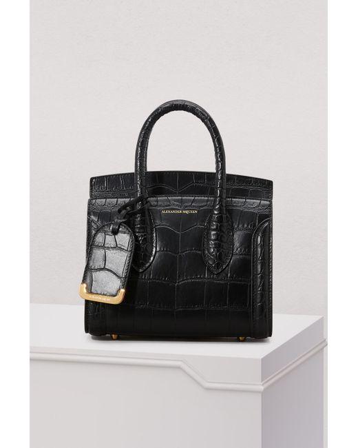 Alexander McQueen - Black Heroine 21 Croc Leather Tote Bag - Lyst