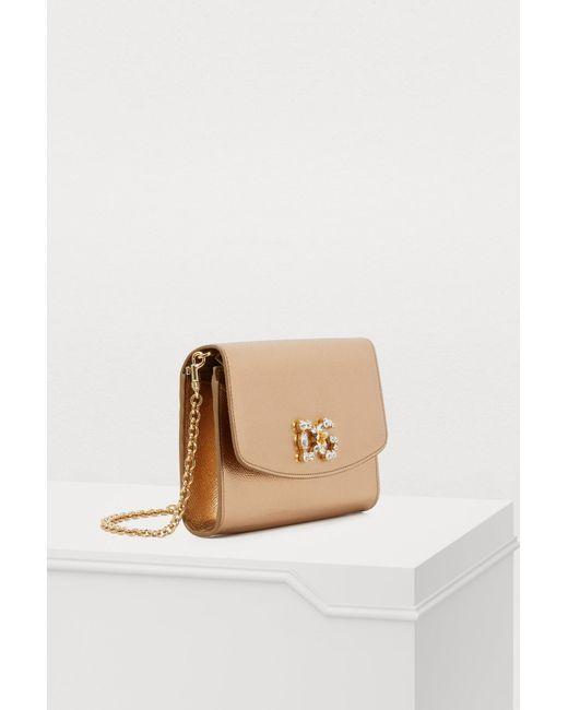 ... Lyst Dolce   Gabbana - Metallic Embellished Logo Crossbody Bag ... 332b7689a1cdf