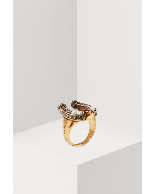 Alexander McQueen - Metallic Horse Shoe Ring - Lyst
