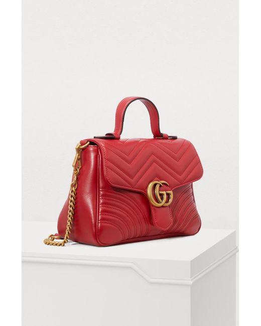 2a71732c4866 Gucci GG Marmont Matelassé Top Handle Bag in Red - Save 19% - Lyst