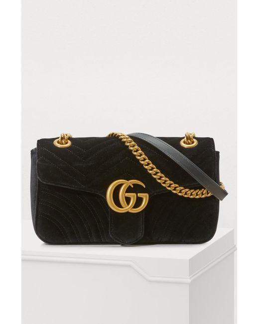 47a003bc2 Gucci - Black GG Marmont Velvet Shoulder Bag - Lyst ...