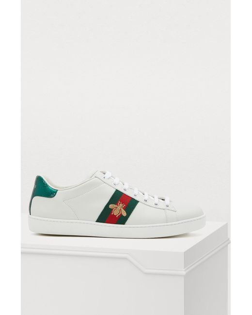 eb5db802cf2 Gucci - White Ace Embroidered Low-top Sneaker - Lyst ...