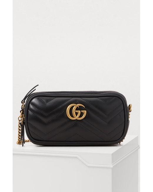 fe8655b12 Gucci - Black GG Marmont Mini Crossbody Bag - Lyst ...