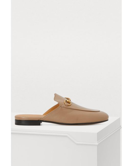 c5da402bbe5 Lyst - Gucci Taupe Princetown Slippers in Brown - Save 24%