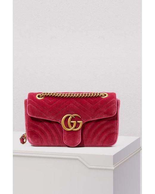 3dd3c0c30b9d Gucci GG Marmont Velvet Shoulder Bag in Pink - Save 11% - Lyst