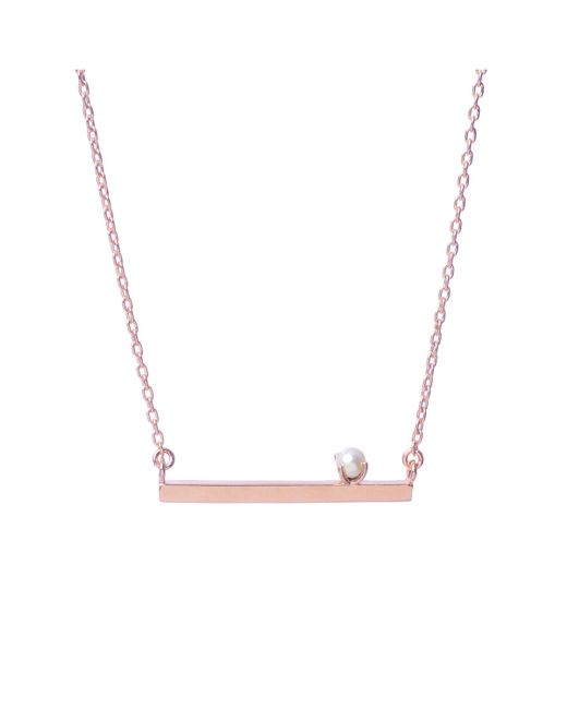 Bing Bang | Pink Pearl Bar Necklace | Lyst
