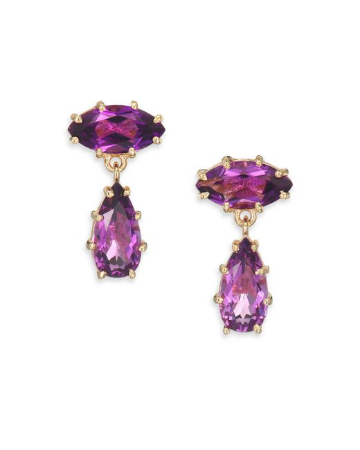 KALAN by Suzanne Kalan | Metallic Papillon Amethyst & 14k Yellow Gold Drop Earrings | Lyst