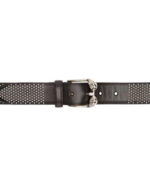 mcqueen black leather studded skull liliput belt
