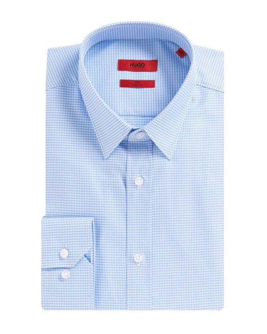 HUGO | Blue Slim-fit Shirt In Pure Cotton: 'elisha' for Men | Lyst