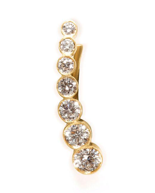Sophie Bille Brahe   Metallic Gold/white Diamond Petite Croissant De Lune Earring   Lyst