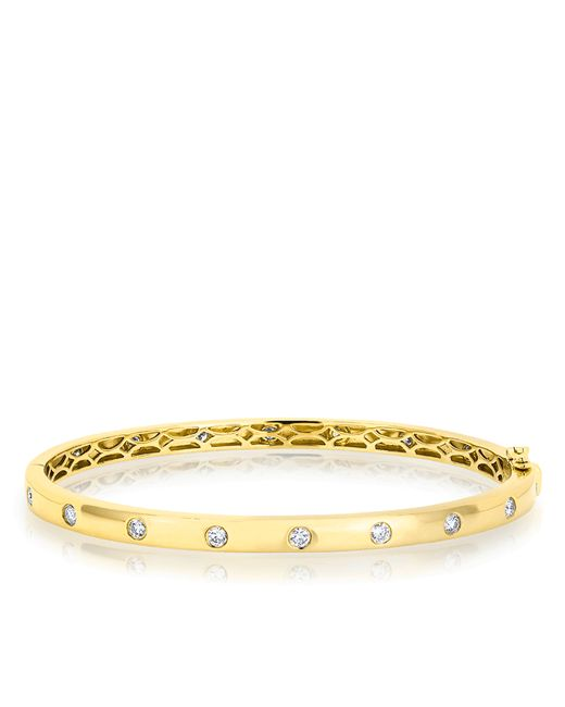Anne Sisteron | Metallic 14kt Yellow Gold Sparkle Full Diamond Bangle Bracelet | Lyst