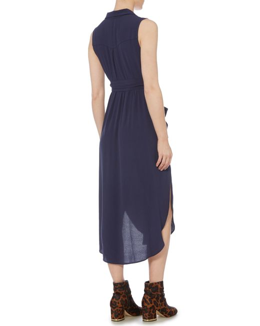Bardot Sleeveless Wrap Shirt Dress With Tie Waist In Blue