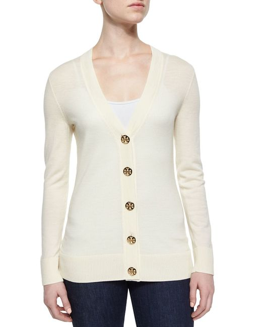 Tory Burch   White Simone Button-front Wool Cardigan   Lyst