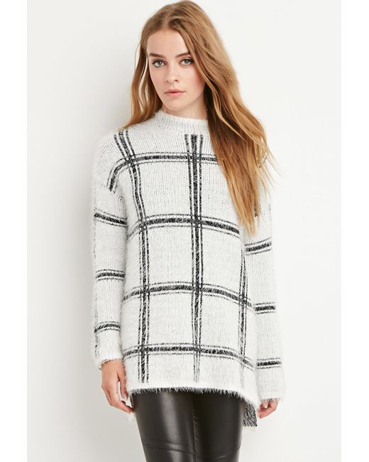 Forever 21   White Eyelash Knit Plaid Sweater   Lyst
