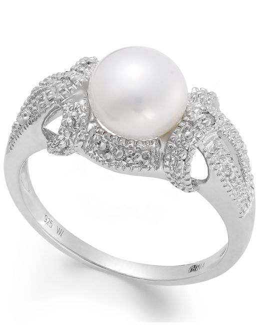 Macy's | White Cultured Freshwater Pearl (7-1/2mm) And Diamond Accent Ring In Sterling Silver | Lyst