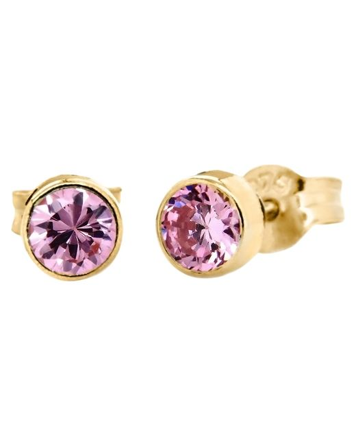 Ib&b | Pink 9ct Gold Round Cubic Zirconia Stud Earrings | Lyst